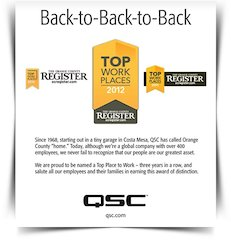 QSC Audio Products Named One of the Top Ten Orange County Workplaces